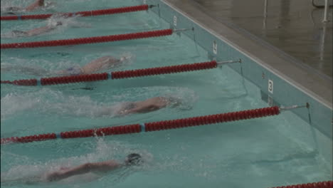 Swimmers-reach-the-side-of-the-pool-turn-around-and-start-back