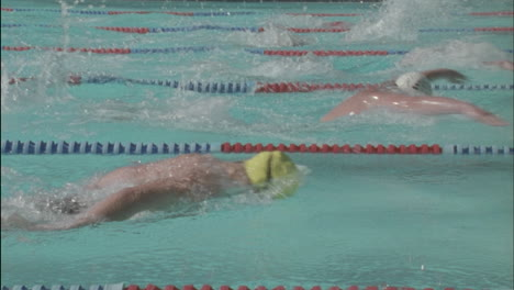 Male-swimmers-compete-in-butterfly-style-race-in-a-swimming-pool