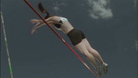 A-female-athlete-competes-in-pole-vaulting