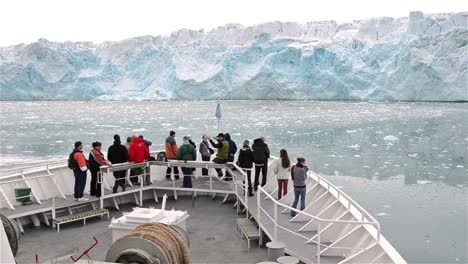 Point-of-view-from-the-ship-s-bow-approaching-Lilliehookbreen-Glacier-in-Svalbard-Archipelago-Norway