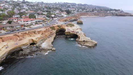 Aerial-Over-Sunset-Cliffs-At-Pacific-Beach-San-Diego-California
