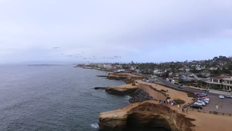 Aerial-Following-Pelicans-Flying-Over-Sunset-Cliffs-At-Pacific-Beach-San-Diego-California