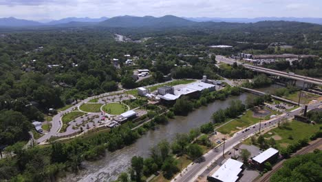 Aerial-Over-Highway-Bridge-Over-The-French-Broad-River-In-Asheville-North-Carolina
