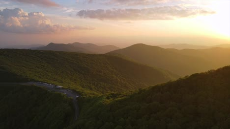 Aerial-Over-The-Blue-Ridge-Mountains-At-Sunset-Near-Asheville-North-Carolina
