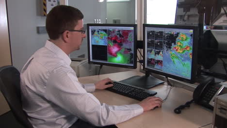 A-Weather-Forecaster-At-The-National-Weather-Center-Uses-Doppler-Radar