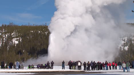 Old-Faithful-Erupts-In-Winter-In-Yellowstone-National-Park