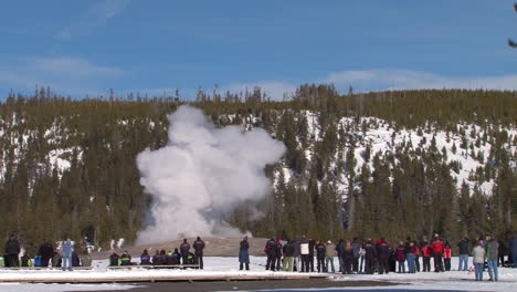 Old-Faithful-Erupts-In-Winter-In-Yellowstone-National-Park-1