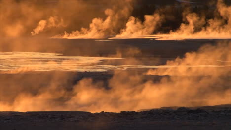 A-Geothermal-Region-In-Yellowstone-National-Park-In-Golden-Light