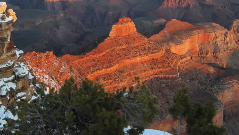 A-Slow-Tilt-Up-To-The-Grand-Canyon-Rim-At-Sunset-Or-Sunrise