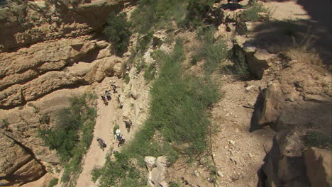 High-Angle-View-Of-Rangers-Leading-A-Hiking-Group-In-The-Grand-Canyon