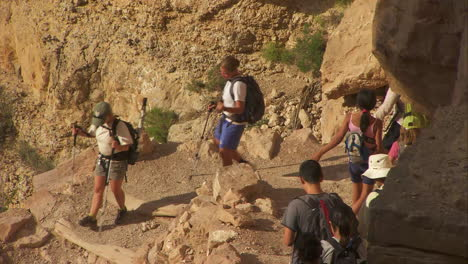 High-Angle-View-Of-Rangers-Leading-A-Hiking-Group-In-The-Grand-Canyon-1