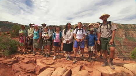 A-National-Park-Ranger-Leads-A-School-Tour-Of-The-Grand-Canyon