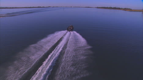 Aerial-Over-A-Boat-On-The-Sacramento-Or-American-River-In-California-1
