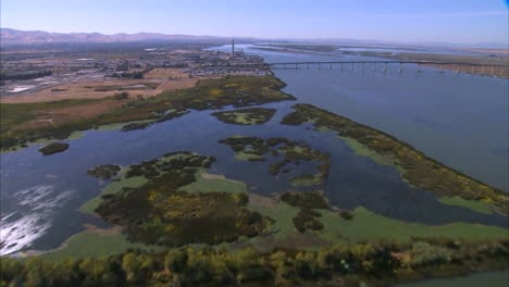 Aerial-Over-The-Sacramento-River-Shows-A-Great-Deal-Of-Industry-And-Commercial-Traffic