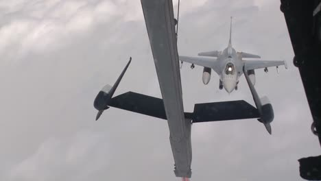 An-Air-Force-F16-Is-Refueled-In-Midair