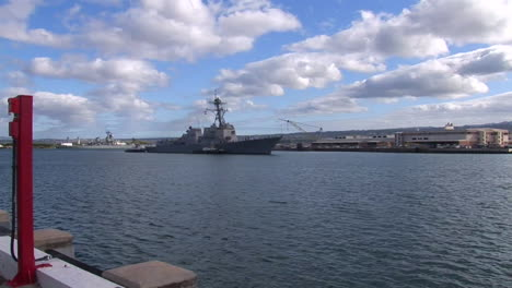 A-Guided-Missile-Destroyer-Navy-Ship-Passes-Near-Hickam-Base-In-Hawaii