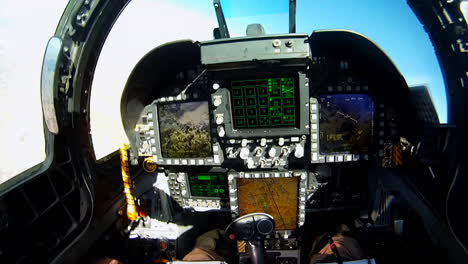 Pov-Shots-From-The-Cockpit-Of-A-Fighter-Plane-Includes-Instrument-Controls