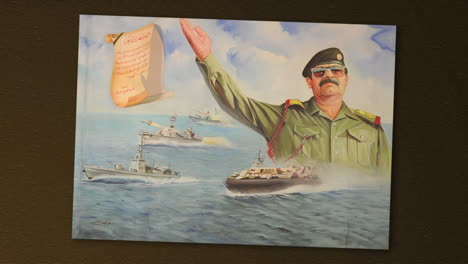 Items-Confiscated-Buy-The-Us-Military-During-The-Iraq-War-Include-A-Painting-Of-Saddam-Hussein-With-A-Handwritten-Letter-Written-In-Human-Blood