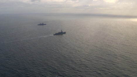 Aerials-Over-An-Aircraft-Carrier-And-Strike-Group-On-The-High-Seas-1
