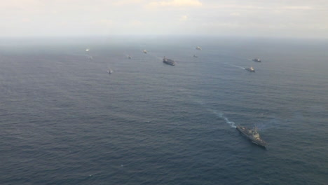 Aerials-Over-An-Aircraft-Carrier-And-Strike-Group-On-The-High-Seas-2