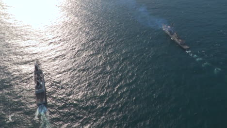 Aerials-Over-An-Aircraft-Carrier-And-Strike-Group-On-The-High-Seas-3