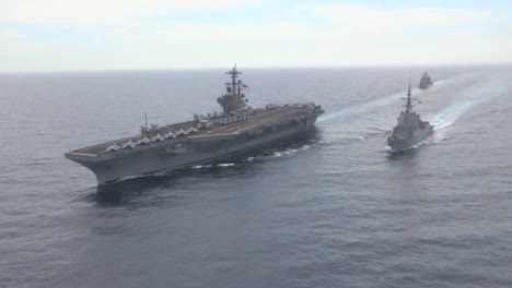 Aerial-Shots-Over-Aircraft-Carrier-And-Other-Navy-Craft-On-The-Sea-1