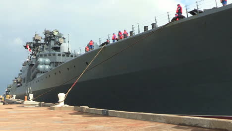 A-Russian-Navy-Vessel-Is-Docked-At-A-Military-Base