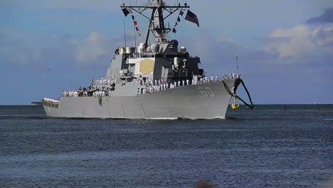 A-Guided-Missile-Destroyer-Navy-Ship-Sails-Into-Port