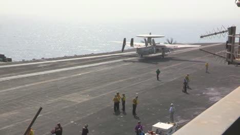 An-E2C-Hawkeye-Lands-On-An-Aircraft-Carrier
