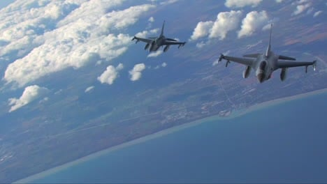 Two-F16-Fighter-Jets-Fly-In-Formation