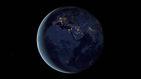 Loopable-Animation-Of-The-Earth-Spinning-At-Night-From-Space