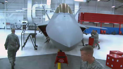 The-F22-Raptor-Is-Maintained-In-Its-Hangar