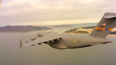 Aerials-Of-The-Us-Air-Force-Air-Mobility-Command-C17-In-Flight-Over-San-Francisco-Bay