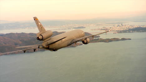 Aerials-Of-The-Us-Air-Force-Air-Mobility-Command-Kc10-In-Flight-Over-San-Francisco-And-The-Golden-Gate-Bridge