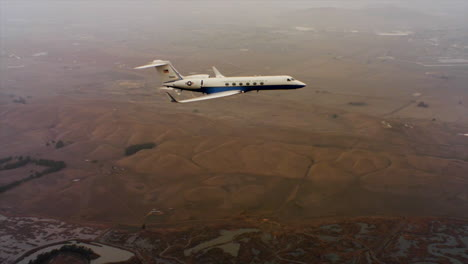 Aerials-Of-The-Us-Air-Force-Air-Mobility-Command-C37-Executive-Us-Government-Jet-In-Flight