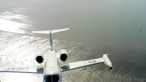 Aerials-Of-The-Us-Air-Force-Air-Mobility-Command-C21-Executive-Us-Government-Jet-In-Flight