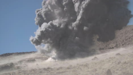 A-Series-Of-Fast-Rocket-Strikes-And-Big-Explosions-In-A-Desert-Landscape