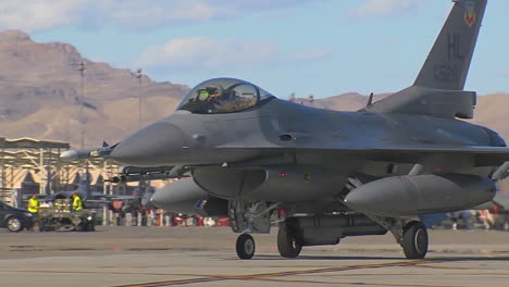F15-And-F16-Fighter-Jets-Line-Up-And-Taxi-For-Takeoff-In-A-Military-Exercise-1