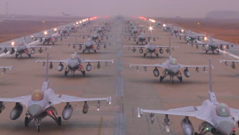 Zoom-Back-From-Dozens-Of-Air-Force-Jet-Aircraft-Parked-And-Ready-On-A-Runway