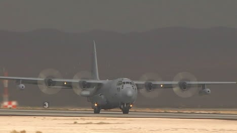 A-C130-Cargo-Plane-Takes-Off-From-A-Military-Base