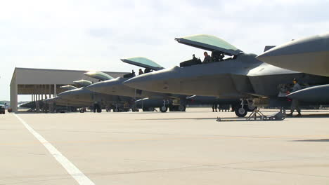 F22-All-In-A-Row-At-A-Military-Base