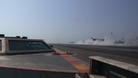 Various-Jet-Aircraft-Take-Off-From-The-Deck-Of-An-Aircraft-Carrier