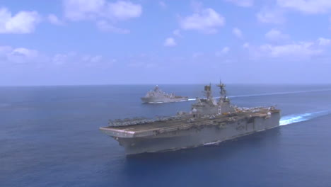Good-Aerial-Over-An-Aircraft-Carrier-As-Sea-With-Fleet