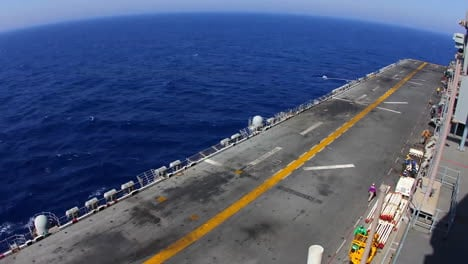Time-Lapse-Shot-Of-The-Deck-Of-An-Aircraft-Carrier