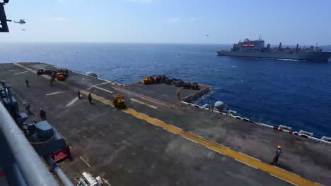 Time-Lapse-Shot-From-The-Deck-Of-An-Aircraft-Carrier-Of-A-Supply-Ship-Beside-1