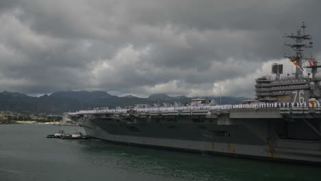 An-Aircraft-Carrier-With-All-Hands-On-Board-Pulls-Into-Pearl-Harbor-Hawaii-2