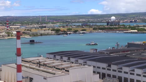 A-Submarine-Moves-Through-Pearl-Harbor-Hawaii