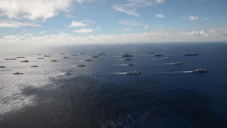 Aerial-Of-Massive-Flotilla-Of-Navy-Ships-On-The-Move-Across-The-Pacific-2
