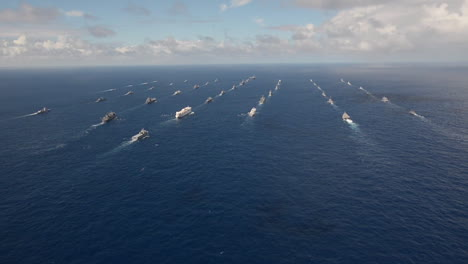 Aerial-Of-Massive-Flotilla-Of-Navy-Ships-On-The-Move-Across-The-Pacific-4