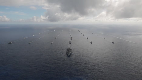 Aerial-Of-Massive-Flotilla-Of-Navy-Ships-On-The-Move-Across-The-Pacific-5